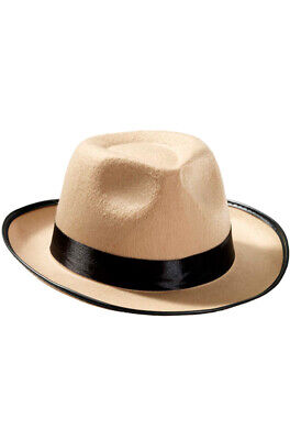 The Great Gatsby Gangster Fedora Hat (Beige) Costume Accessory - The Great Gatsby Hats