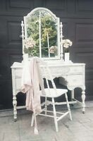 Antique Shabby Chic Vanity with Mirror and Chair
