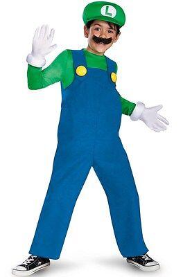 Luigi Luxus Kostüm Jungen M Halloween Super Mario Videospiel Kinder - Luigi Kostüm Junge