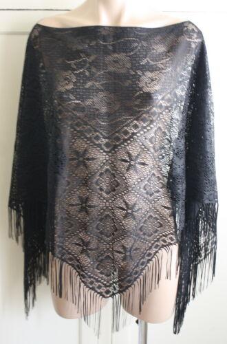 Vintage Black Lace Poncho Shawl Fringe Festival Goth Boho Witch One Size