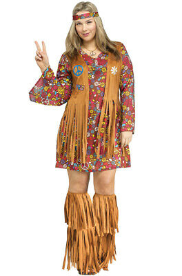 Peace And Love Hippie Costume (Peace and Love Hippie Women Adult Plus Size)