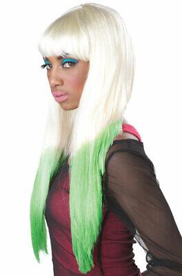 Sexy Nicki Minaj Color Dipped Halloween Costume Wig (Blonde/Green) - Nicki Minaj Wigs Halloween