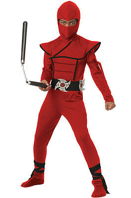 Japanese Stealth Ninja Child Samurai Costume (Red/Black) (Japanese Samurai Costumes)