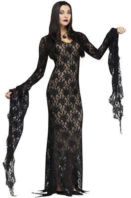 Brand New Miss Darkness Gothic Elvira Outfit Women Adult Costume - Elvira Costumes