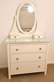 Ikea Hemnes white large chest of draws with vanity top and glass topper.