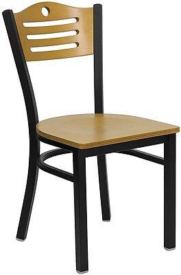 Black Slat Back Metal Restaurant Chair - Natural Wood Back And Seat