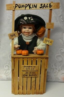 Halloween Displays For Sale (Vintage Pumpkin Sale For Thanksgiving or Halloween Girl Doll Farmer)