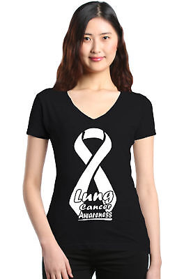 White Lung Cancer Awareness Women's V-Neck T-shirt Ribbon Support Hope (Cancer Awareness White T-shirt)