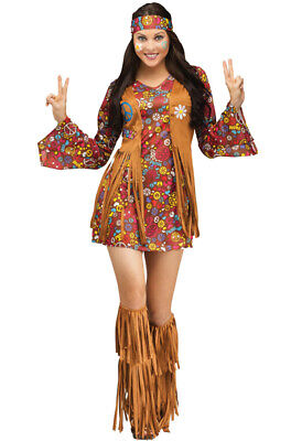 Peace And Love Hippie Costume (Brand New Peace and Love Hippie Dress Women Adult)