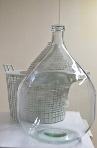 20L Clear Glass Demijohn with Plastic Basket