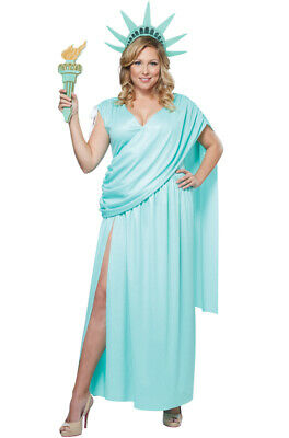 Brand New Lady Statue of Liberty Plus Size Costume (Lady Costume)