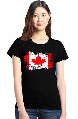 Shop4Ever Canadian Flag Women's T-Shirt Canada Maple Leaf Flag Shirts