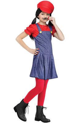 Mario Girl (Mario Girl Pretty Plumber Child Halloween Costume Small/Medium)