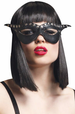 Studded Mask Black w/ Silver Studs Dominatrix Bad Girl New by Leg Avenue - Dominatrix Masks