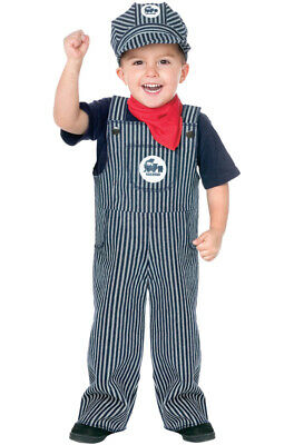 Brand New Train Conductor Engineer Striped Overalls Boys Outfit Toddler Costume
