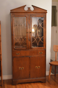 Lovely solid wood antique china cabinet