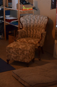 Antique Chair and Ottoman