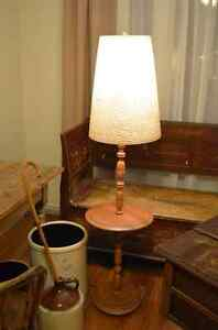 Cool vintage floor lamp with solid maple base.
