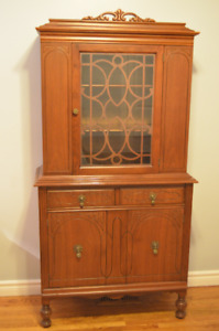Beautiful Antique Solid Walnut China Cabinet