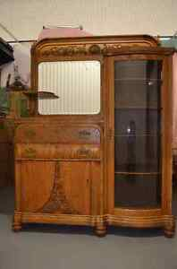 Antique Victorian Oak Dining Room Hutch/Display Cabinet