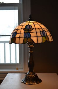 Stained Glass Lamp Shade with Metal Base