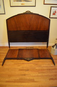Gorgeous Antique 1920's Solid Walnut Bed Frame