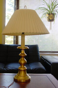 Two Polished Brass Table Lamps  with Off White Shades