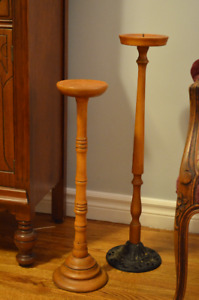Set of Two Solid Wood Candle Holders