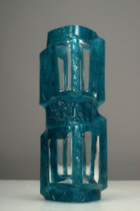 Rare Daum France Art Glass Argos Blue Modernist Cubist Vase