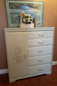 Cream, 5-Drawer Dresser with Shelving/Armoire