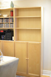 Two Ikea Billy Bookcases in birch