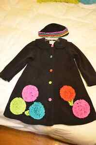 Dressy black coat w/ multi-colour ruffle flower details - size 5