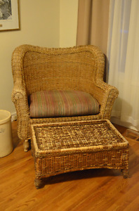Great Wicker Chair with Ottoman