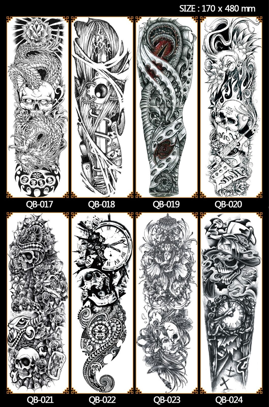 Tattoo Sleeve Stencils: Colorful Full Arm Sleeve Temporary Tattoo Stencil Sticker