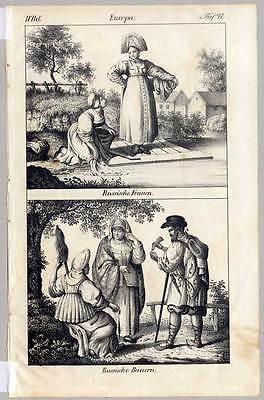 Russische Frauen-Bauern-Russland-Russen-Tracht-Wäsche-Ethnologie-Lithogr. 1830