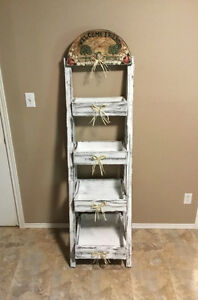 RUSTIC STAND WITH 4 STORAGE SHELVES