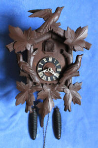 Vintage Mechanical Cuckoo Clock with Pine Cone Weights