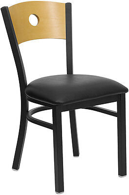 Lot Of 20 Metal Restaurant Chairs W Wood Circle Back Design Black Vinyl Seat