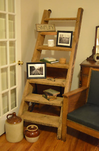 Old solid wood barn stairs
