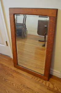 Lovely Antique Solid Oak Beveled Glass Mirror-Gorgeous!!