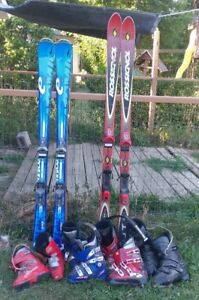 Downhill Skis, Boots and Child Helmet