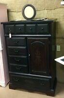 Black painted solid wooden armoire