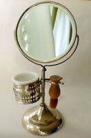 Antique Shaving Mirror, Brush & Glass/ Miroir ancien Camirand