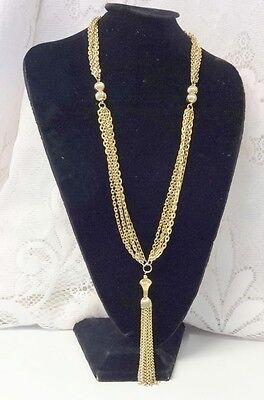 Vintage Retro 50-60's Multiple Chain Tassel Fringe Pendant Fashion Necklace