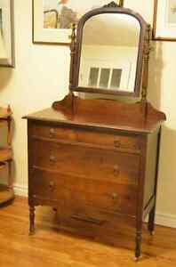 Lovely Antique Solid Wood Dresser with Mirror