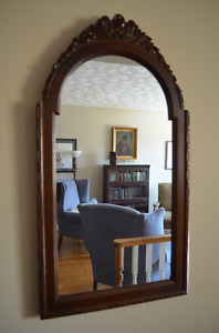 Gorgeous Antique Solid Walnut Wall Mirror