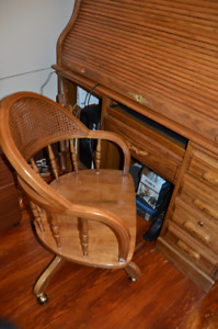 Solid oak roll top computer desk with chair