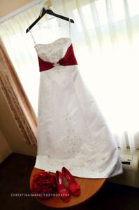 Alfred Angelo Red and White Wedding Dress