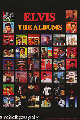 POSTER : MUSIC : ELVIS PRESLEY - THE ALBUMS  MONTAGE -  FREE SHIPPING - LC27 X