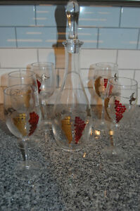 Handmade Etched WIne Glasses and Decanter